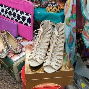Cream Colored Cage Sandals
